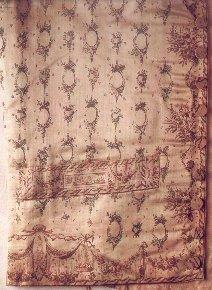 Copperplate on silk waistcoat, ca 1810