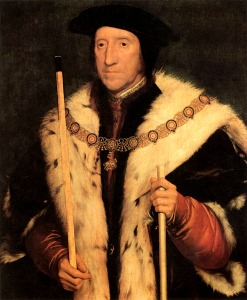 "Tho. Howard, Duke of Norfolk by Holbein.  Contemporaries described him as ""short and scrawny""."